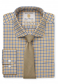 Navy And Gold Check Single Cuff Shirt