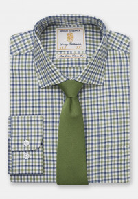 Navy And Olive Check Single Cuff Shirt