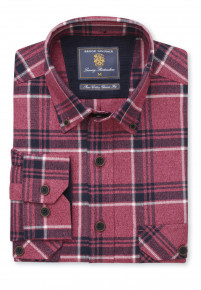 Classic Fit Berry and Charcoal Melange Check Shirt