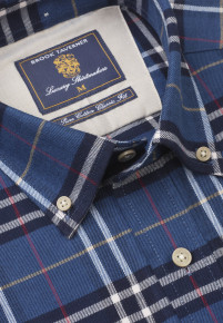 Blue with Navy and Red Bold Plaid Check Shirt