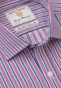 Navy and Red Twill Stripe Shirt