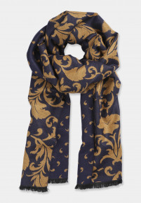 Double Faced Botanical and Geometric Patterned  Scarf
