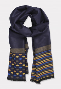 Double Faced Plain Navy with Spot and Striped Trim Scarf