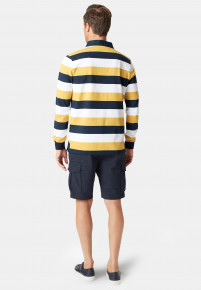 Bolt Yellow Navy and White Hoop Cotton Rugby Shirt