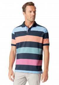 Devizes Navy, Sky Blue, Apricot, Rasberry and Aqua Hoop Soft Handle Piqué Polo Shirt