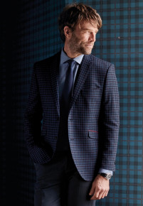 Levet Navy, Blue and Wine Check Jacket