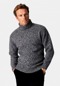 Oxenhope Navy Marl 3 Gauge Cable Front Roll Neck Jumper