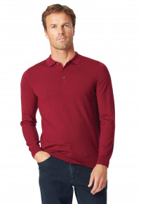 Plockton Berry Merino Long Sleeve Polo Shirt