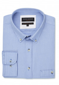 Tailored Fit Long Sleeve Blue Soft Touch Oxford Button Down Collar Shirt