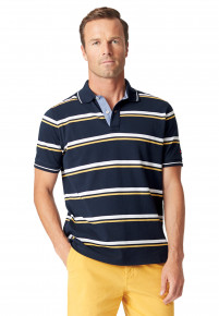 Sandham Navy with White and Yellow Hoop Piqué Polo Shirt