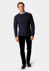 Stanbury Navy Nep 5 Gauge 'Traditional' Aran Cable Front Jumper