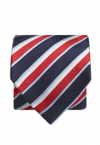 Navy And Red Stripe 100% Silk Tie