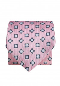 Pink With Blue Flower 100% Silk Tie