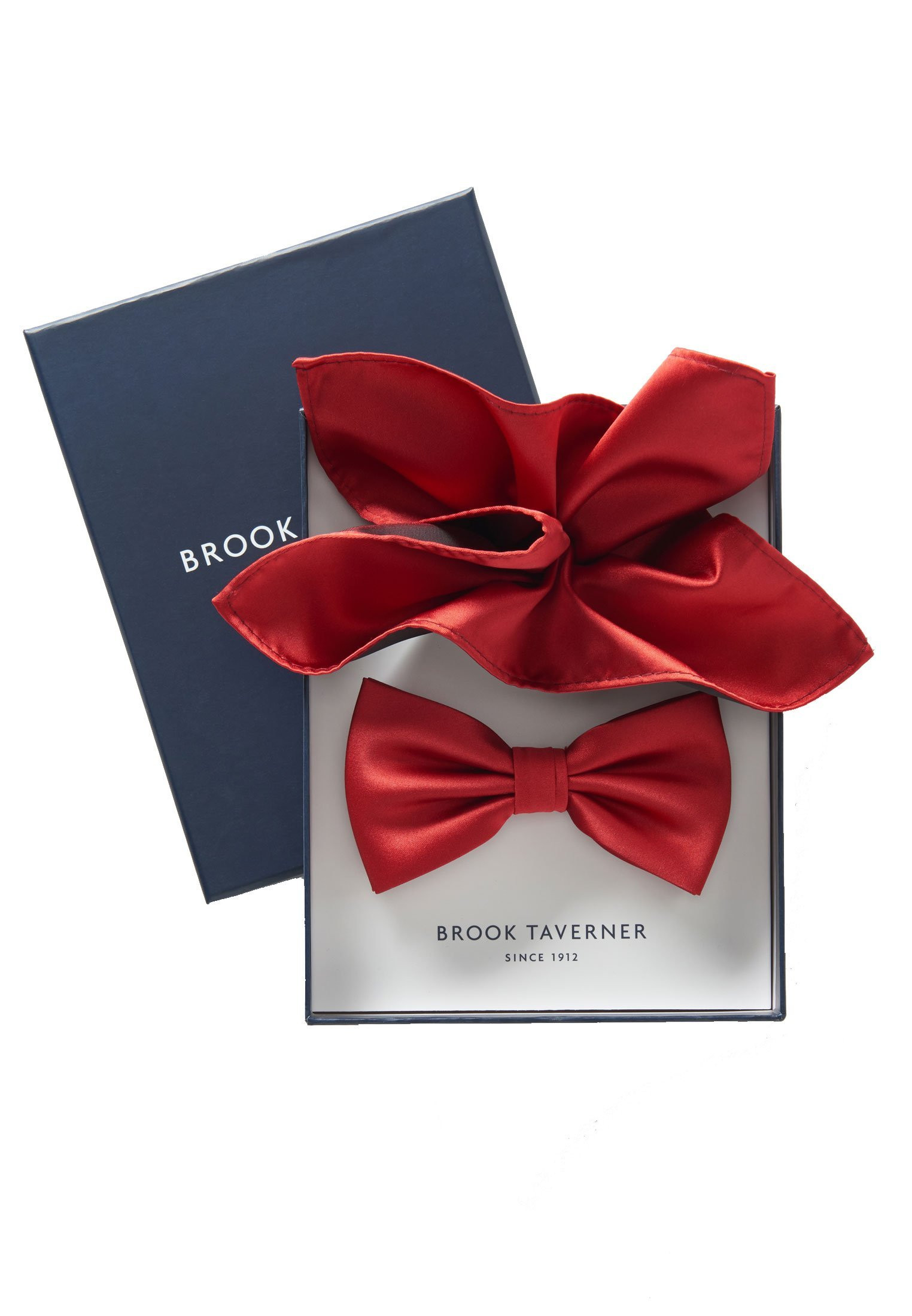 Red Plain Satin Bow Tie & Hanky Set