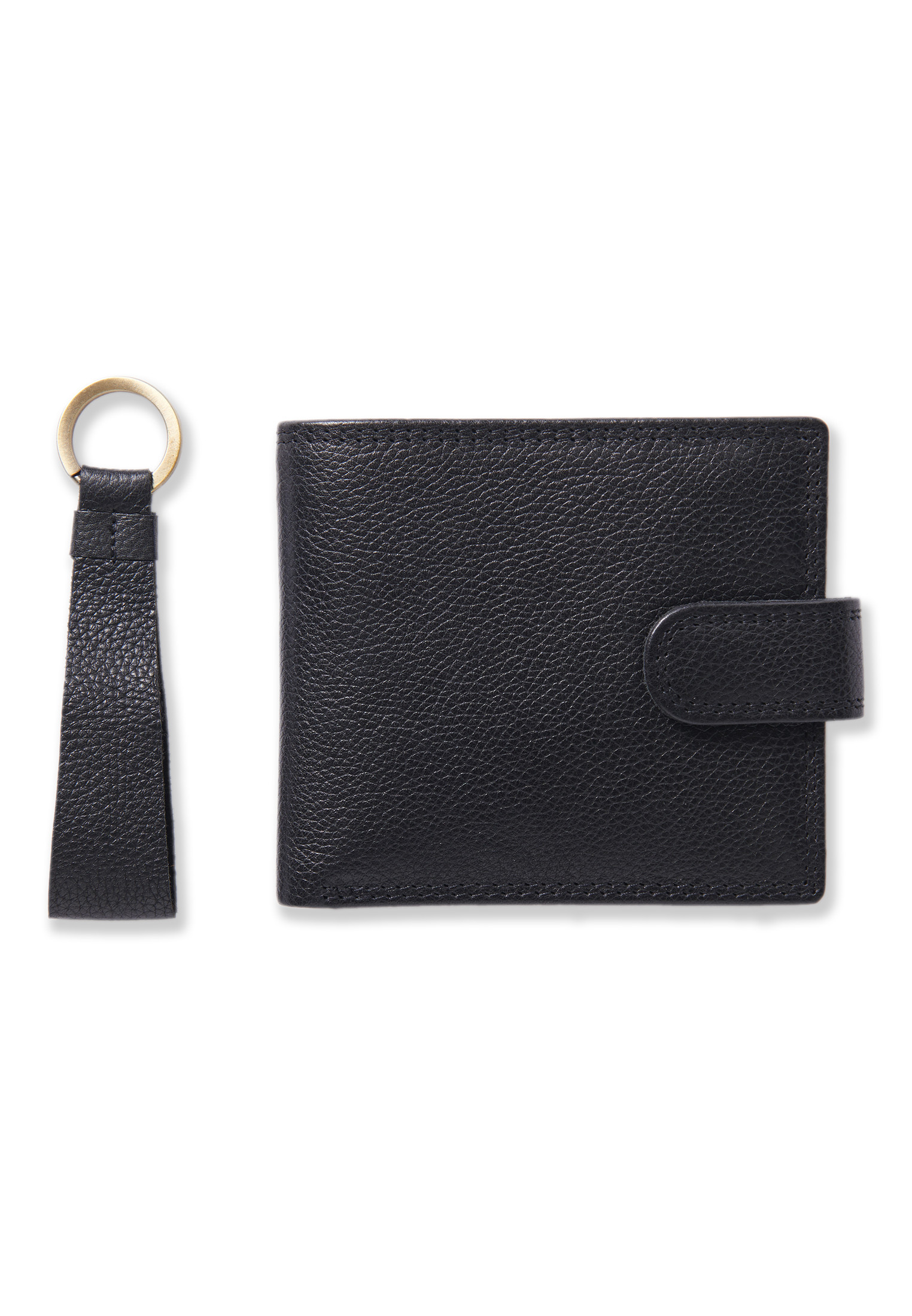 Black Leather RFID Wallet and Key Ring Set