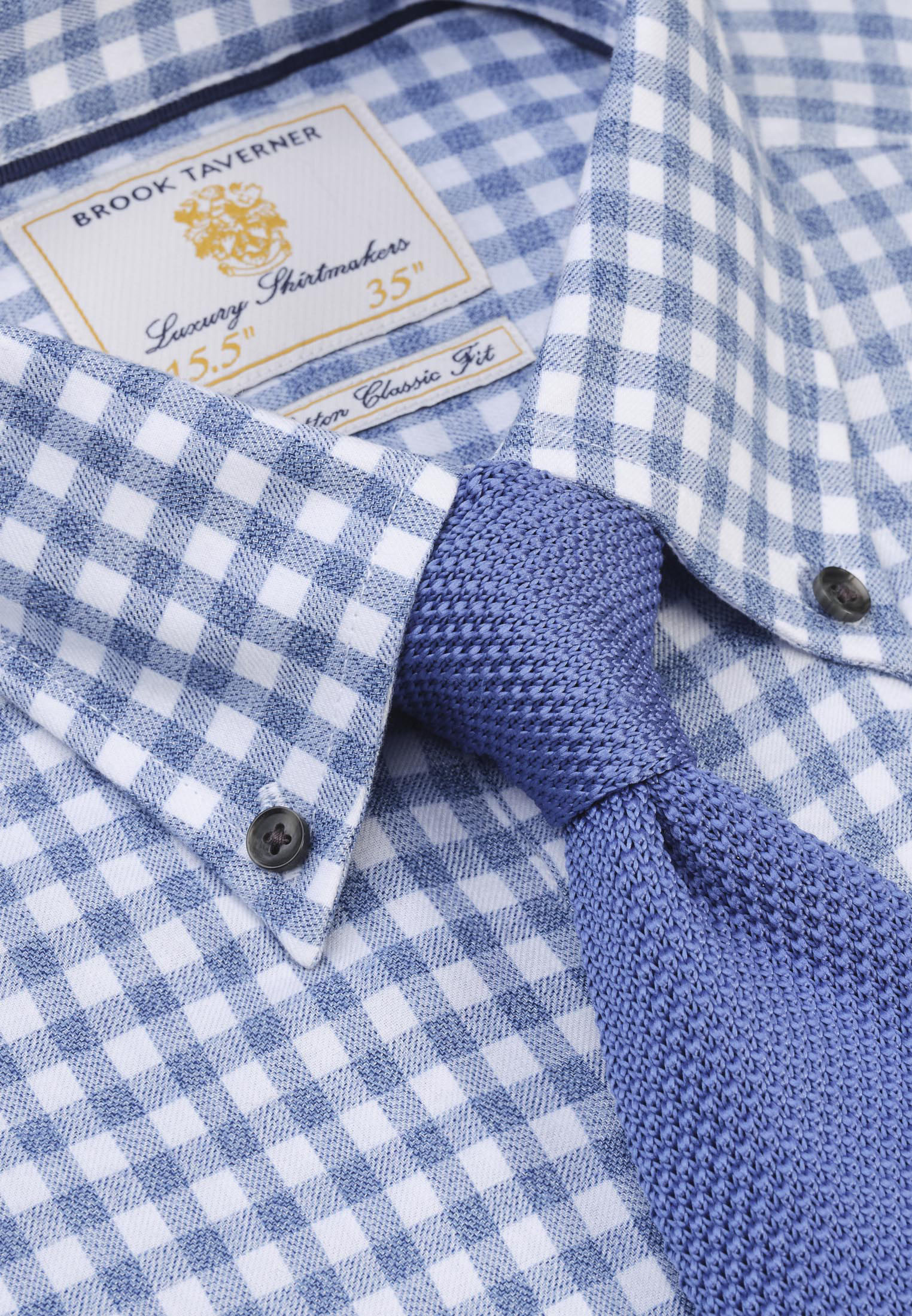 Sky Blue Melange Check Lightly Brushed Classic and Tailored Fit Business Casual Shirt
