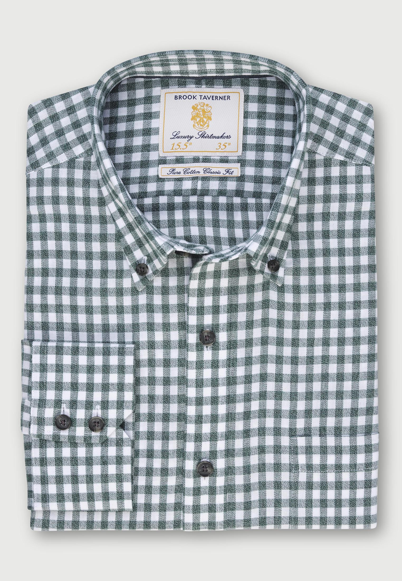 Fern Melange Check Lightly Brushed Classic and Tailored Fit Business Casual Shirt