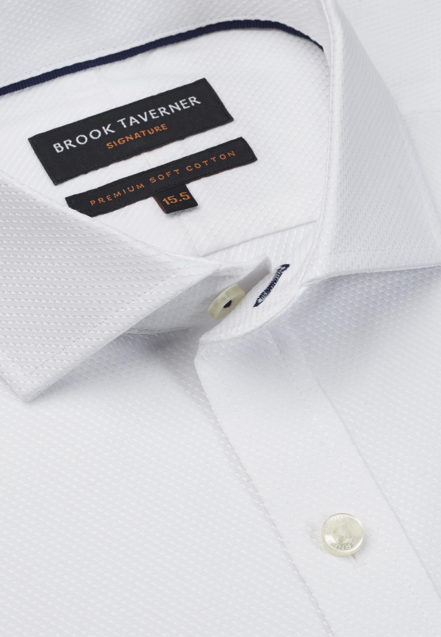 Signature White Twill Double Cuff Tailored Fit Shirt