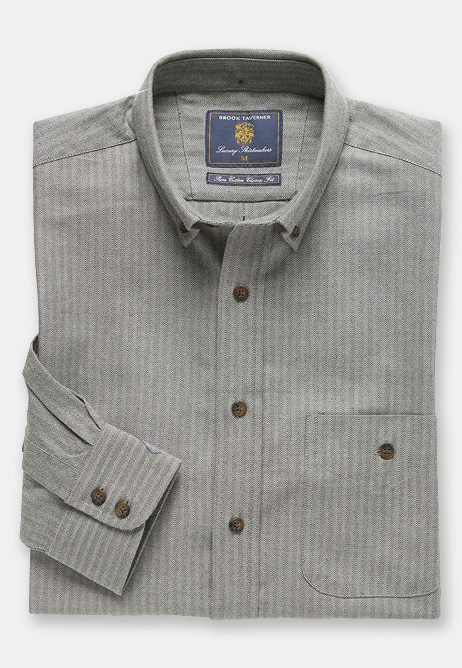 Sage Herringbone Brushed Flannel 'Soft Touch' Cotton Shirt
