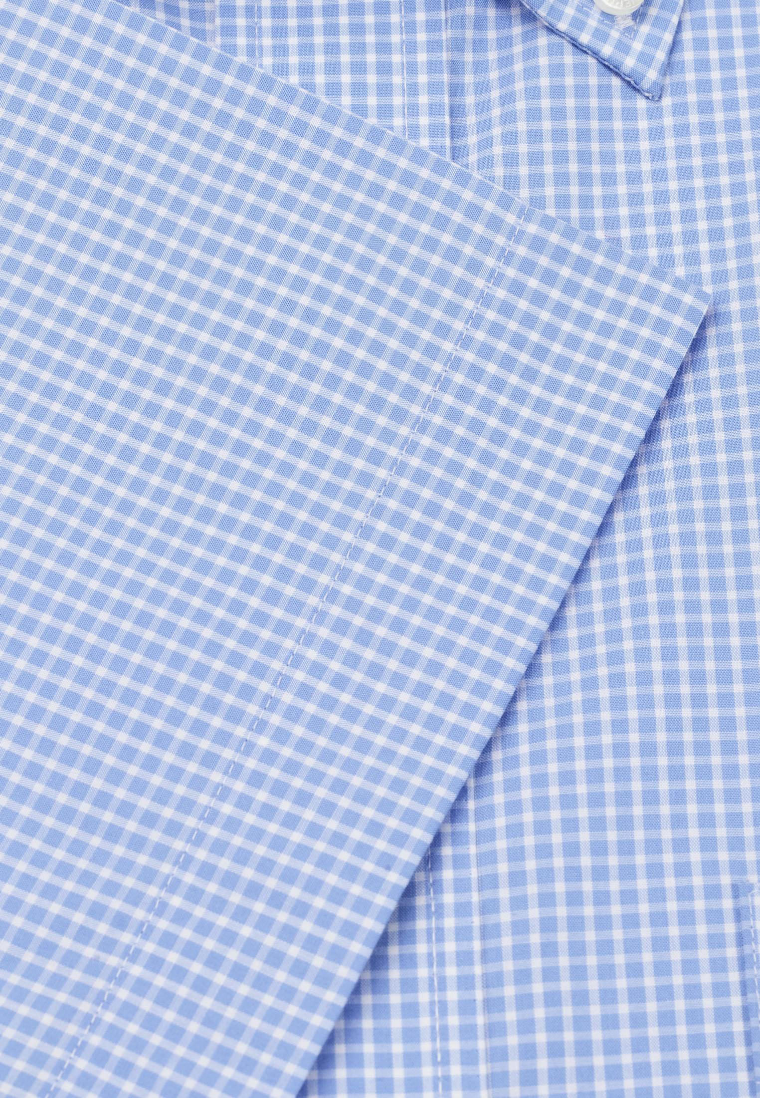 Long And Short Sleeve Sky Neat Check Button Down Collar Shirt