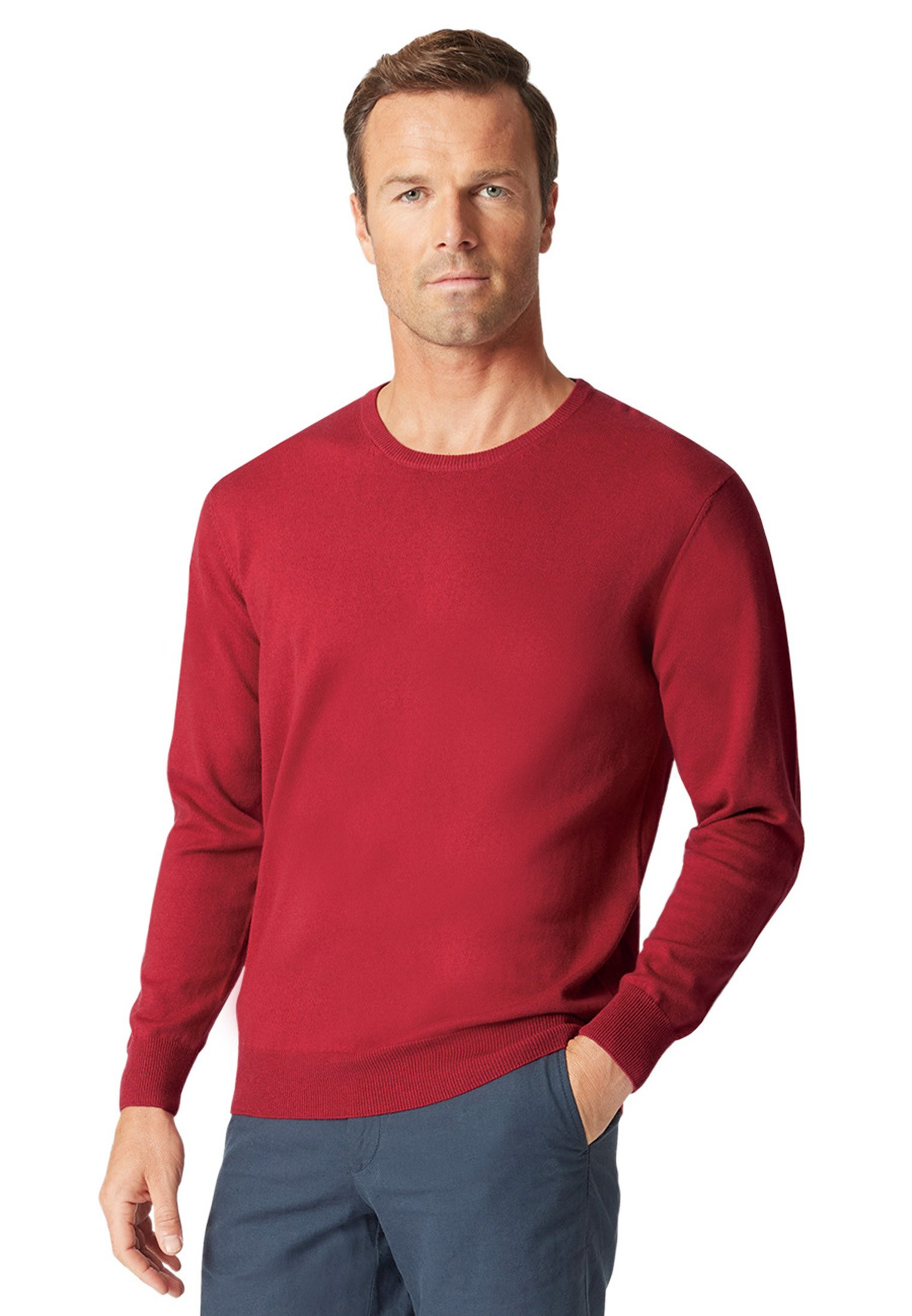 Aylsham Claret Luxury Cotton Merino Crew Neck Sweater