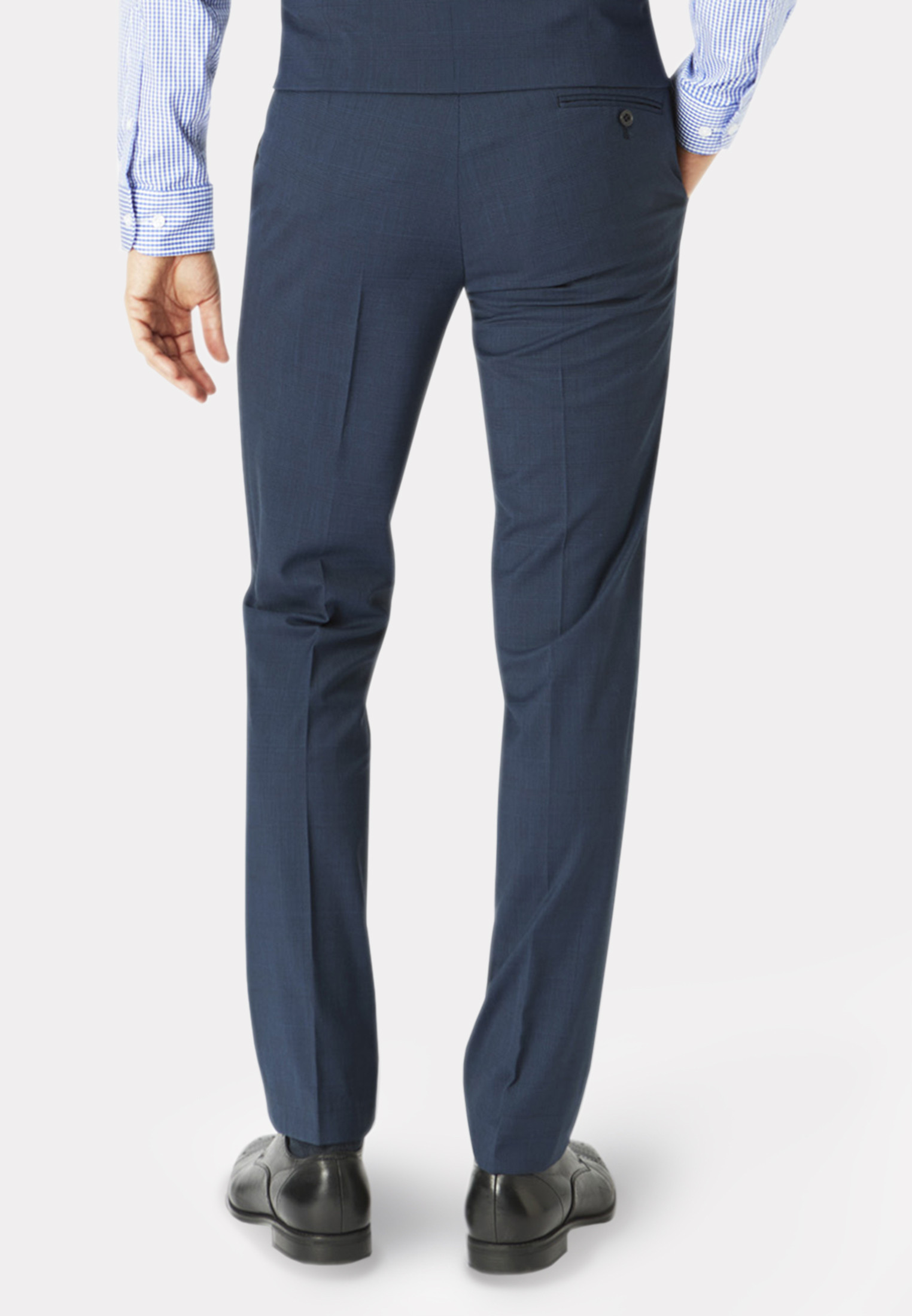 Cassino Navy Check Tailored Fit Washable Suit