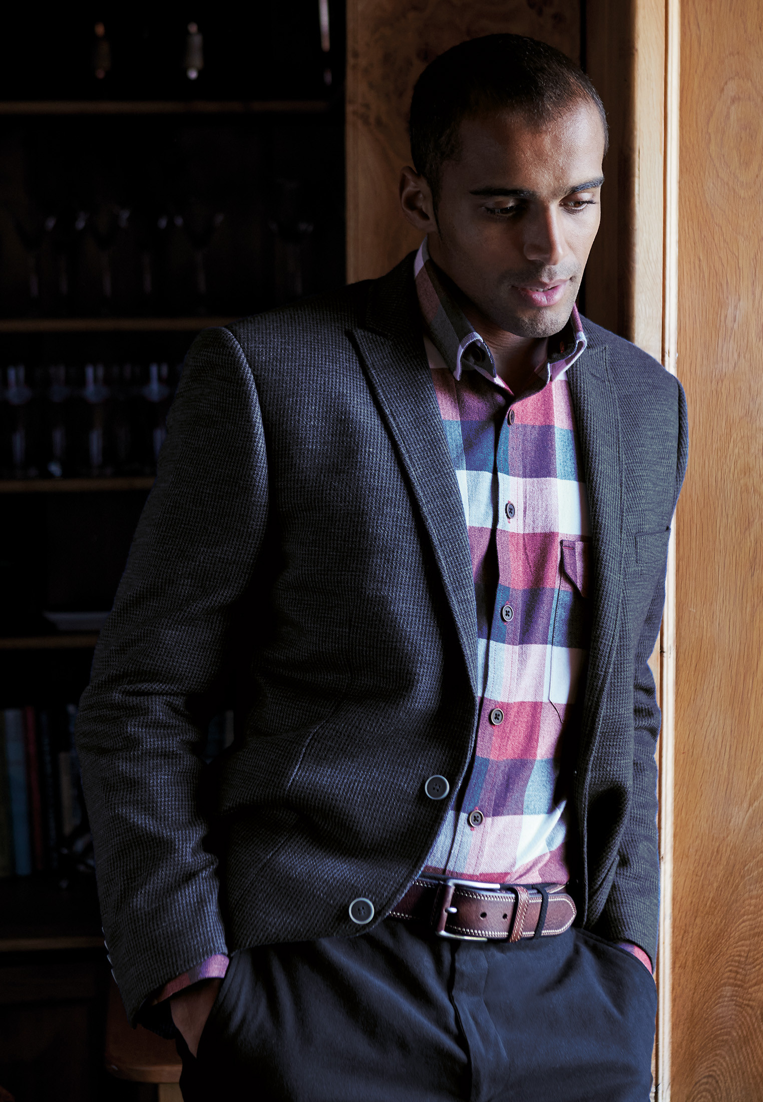 Langer Unstructured Casual Micro Check Jacket