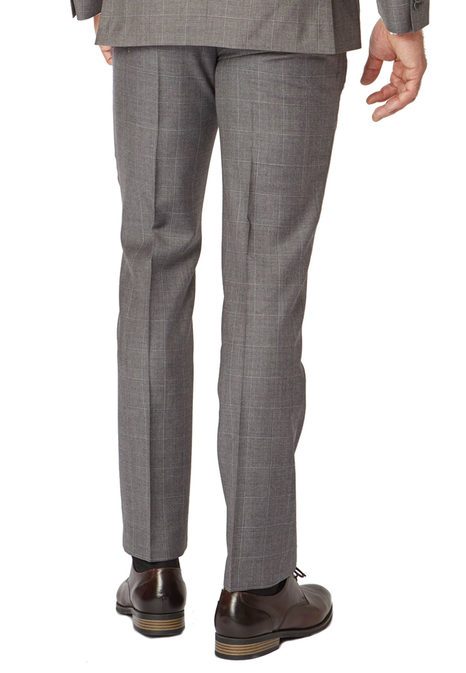 Grey Miller Tailored Fit 'Yorkshire' Pure New Wool Check Suit Trouser