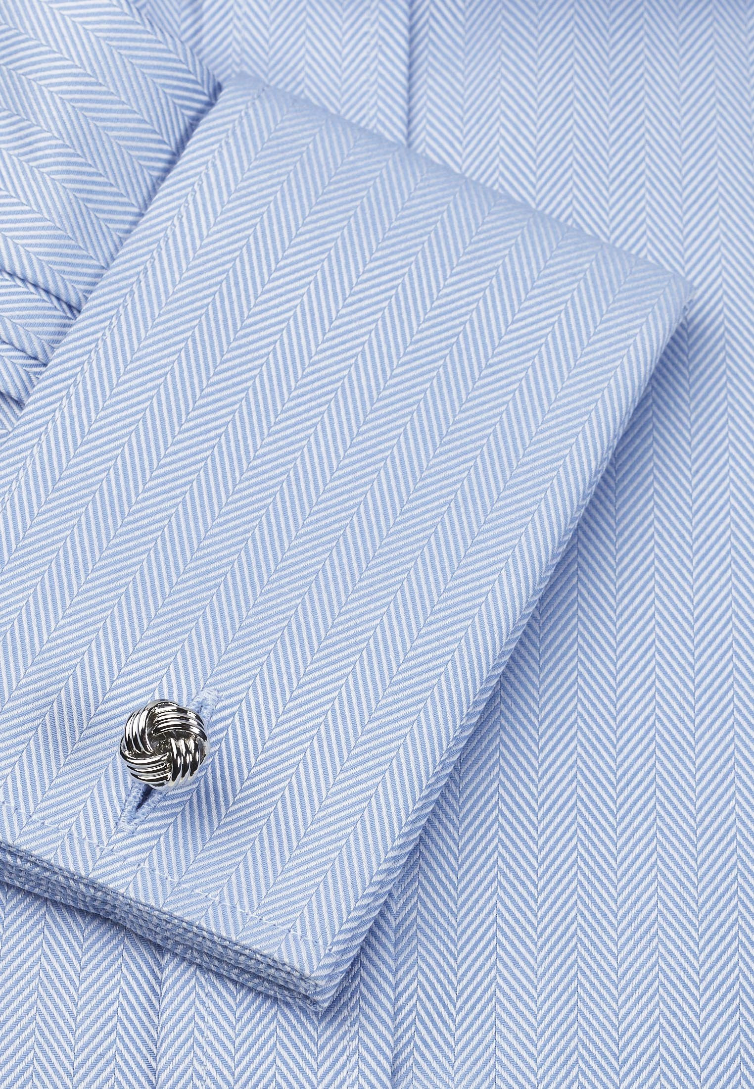 Classic and Tailored Fit, Single and Double Cuff Blue Herringbone 100% Easycare Cotton Shirt