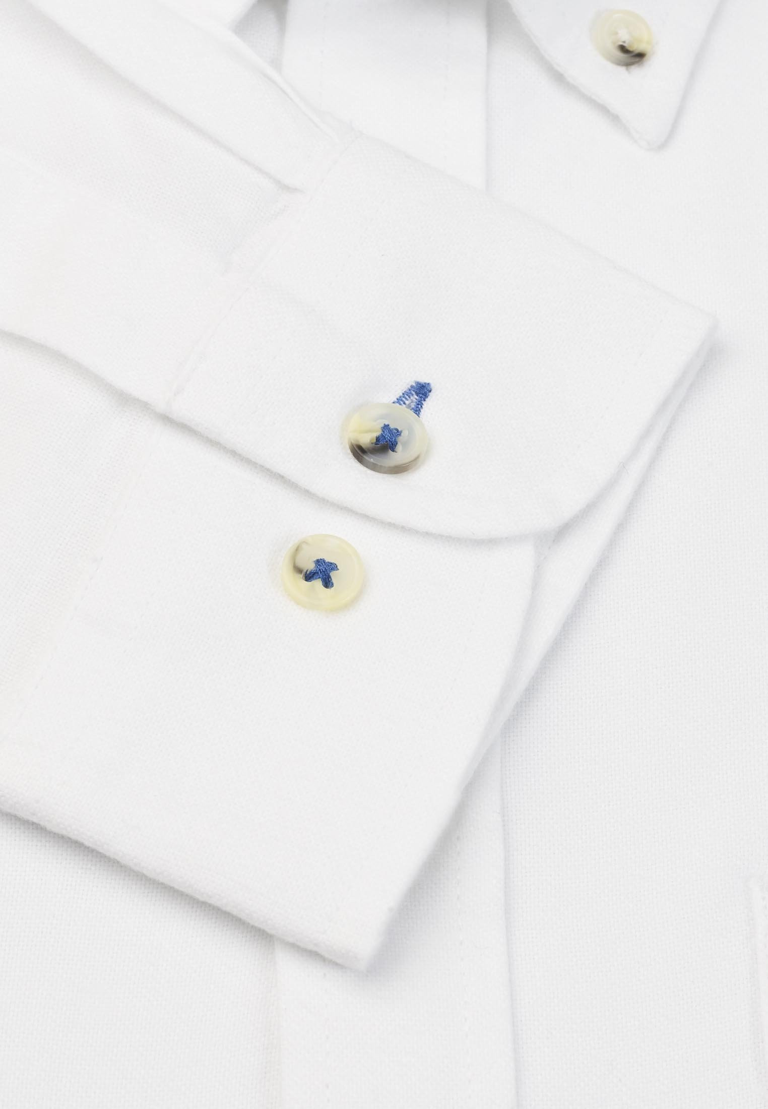 Tailored Fit Long Sleeve White Soft Touch Oxford Button Down Collar Shirt