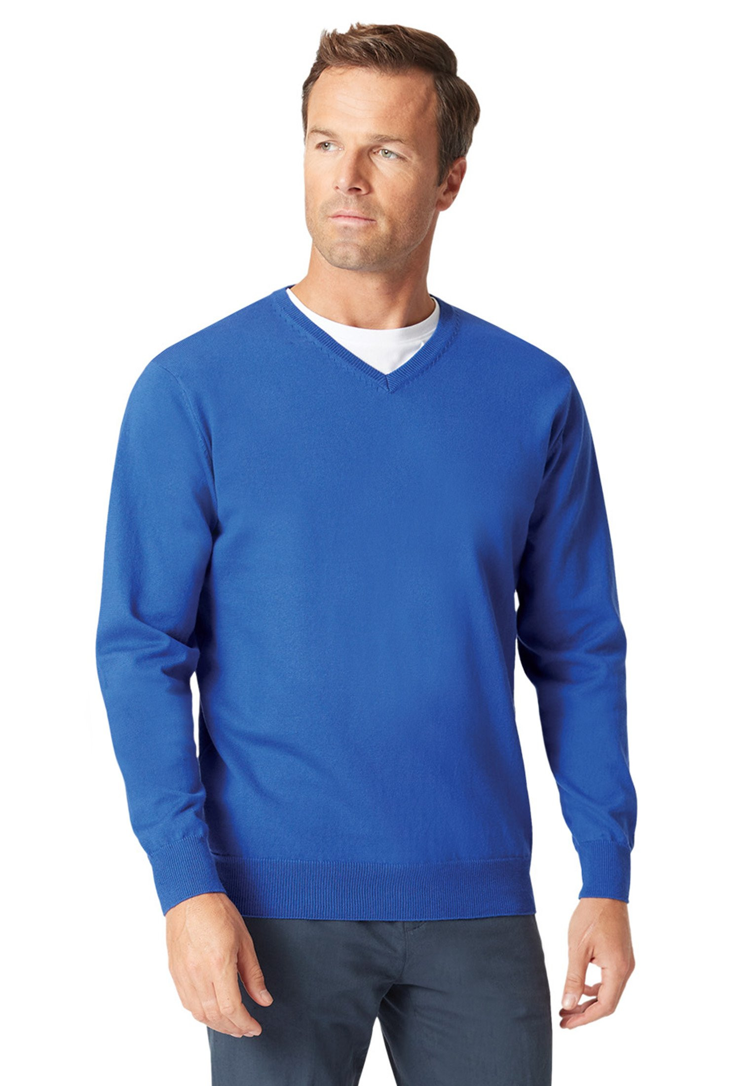 Watton Electric Blue Luxury Cotton Merino V-Neck Sweater