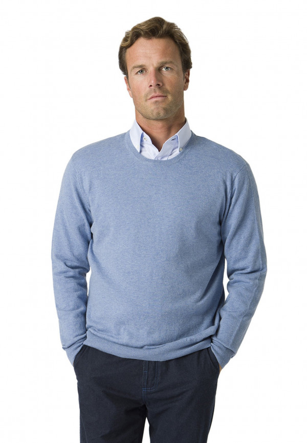 Aylsham Sky Blue Luxury Cotton Merino Crew Neck Sweater