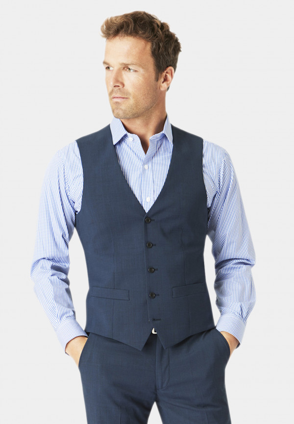 Cassino Navy Check Tailored Fit Washable Suit Waistcoat
