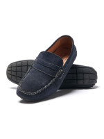 Sparks Navy Suede Moccasin With Rubber Sole