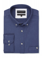 Long Sleeve Navy Soft Touch Oxford Button Down Collar Shirt