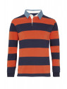 Runswick Navy and Tangerine Hoop Cotton Rugby Shirt