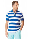 Sandham Colbalt and White Hoop Piqué Polo Shirt
