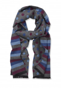 Wine, Blue and Grey Stripe and Dotted Scarf