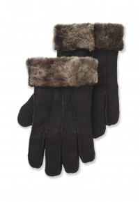 Black Sheepskin Glove with Fur Cuff