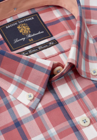 Rose, Navy And Aqua Check Button Down Collar Shirt
