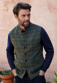 Borve Harris Tweed Nehru Collar Gilet