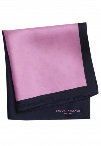 Pink And Navy Pattern 100% Silk Hanky