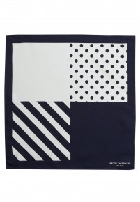 White And Navy Pattern 100% Silk Hanky