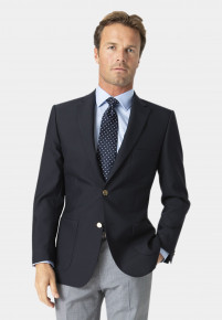 Navy Henley Classic Wool Blend Patch Pocket Blazer