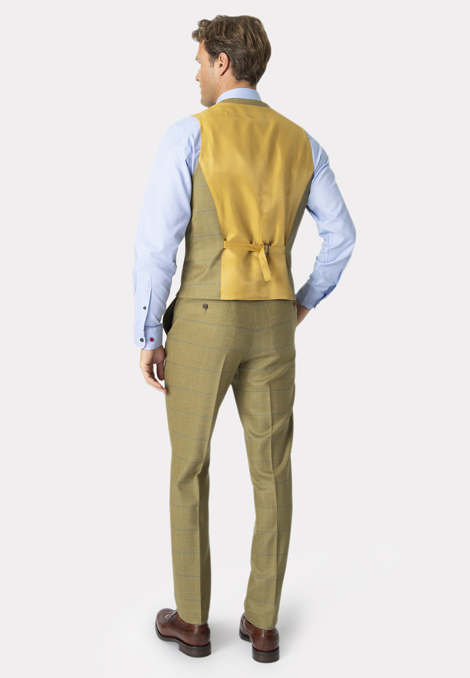 Fountains Sage Check Pure New Wool Suit - Waistcoat Optional