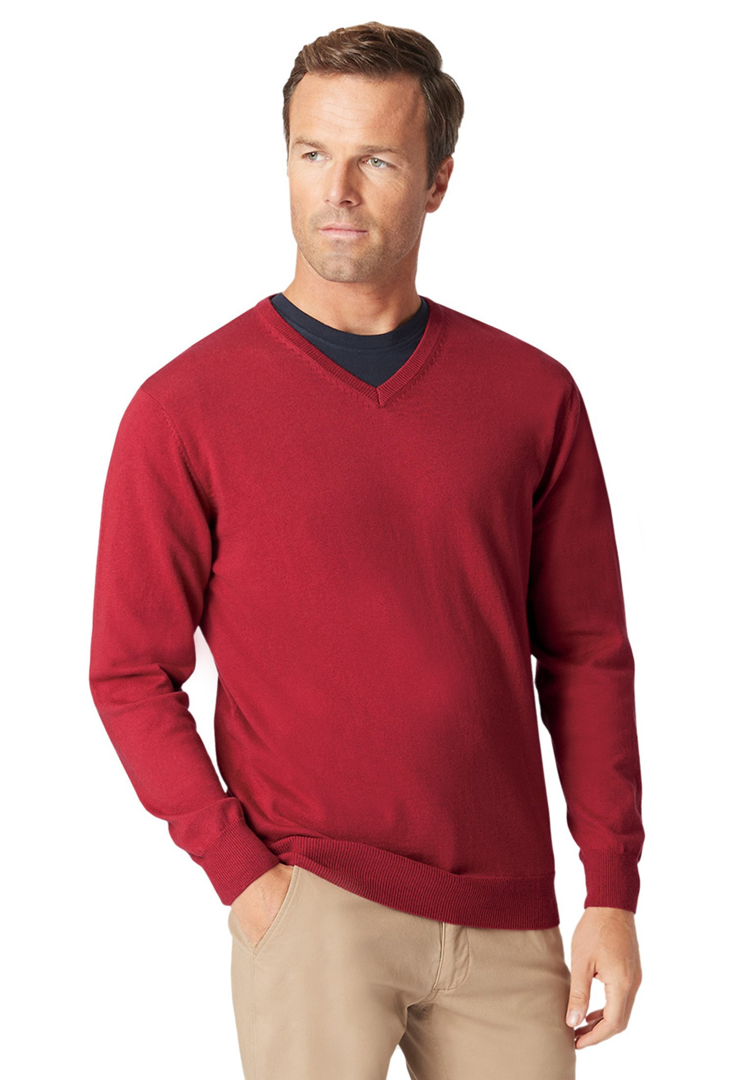 Watton Claret Luxury Cotton Merino V-Neck Sweater
